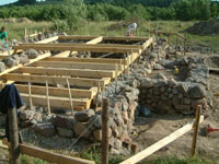 Foundations of straw bale construction house in Poland