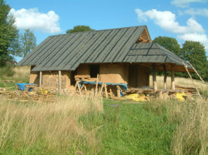 the house built using straw bales and cordwood technology