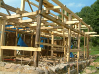 Timber frame of straw bale house.