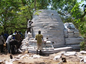 A dome being built at a Earthbag workshop in Zambia in 2012